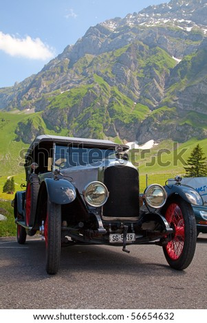 "SCHWAEGALP - JUNE 27: Oldtimer car on the 7th International ""Oldtimer meeting"" in Schwaegalp, Switzerland on June 27, 2010. - stock photo"
