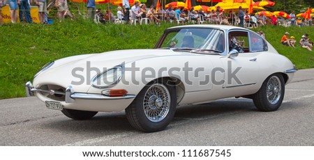 "SCHWAEGALP - JUNE 27: The Famous Jaguar XG on the 7th International ""Oldtimer meeting"" in Schwaegalp, Switzerland on June 27, 2010"