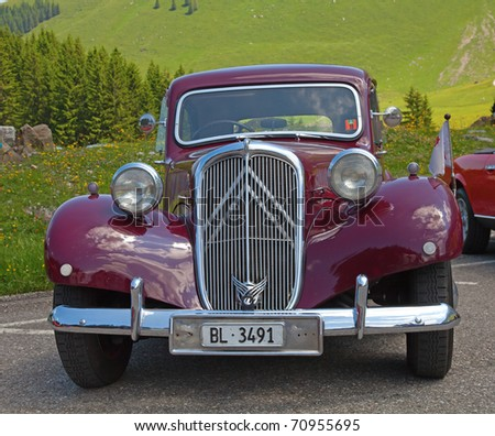 """SCHWAEGALP - JUNE 27: The old french """"Citroen 11BL"""" on the 7th International """"Oldtimer meeting"""" in Schwaegalp, Switzerland on June 27, 2010 - stock photo"""