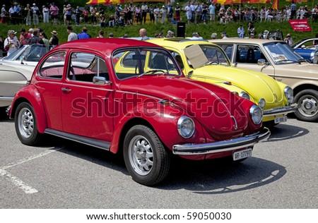 "SCHWAEGALP - JUNE 27: The VW Beetle on the 7th International ""Oldtimer meeting"" in Schwaegalp, Switzerland on June 27, 2010 - stock photo"