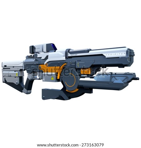 Sci-fi assault railgun made for future soldiers - stock photo