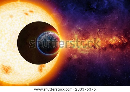 Sci-fi background - sun, dark planet and planet Earth in space, glowing galaxy. Elements of this image furnished by NASA visibleearth.nasa.gov - stock photo