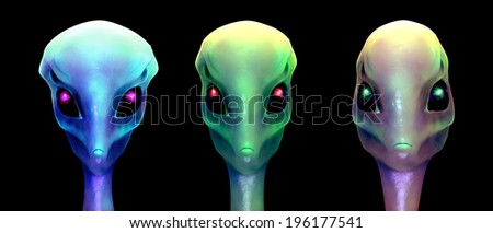 Sci-fi 3d illustration, three aliens isolated on black - stock photo