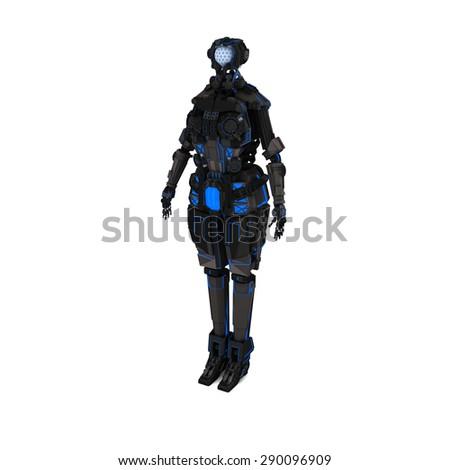 sci fi dark light robot on white background - stock photo