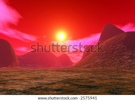 SCI-FI digital landscape of red martian sunset created in Terragen . - stock photo