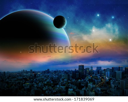 Sci-fi fantasy image of planets, a nebula and space on an alien world.  - stock photo