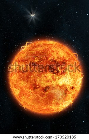 Sci-fi fantasy image of planets and space. A burning sun on a space background. Vertical orientation great for books & magazines. - stock photo