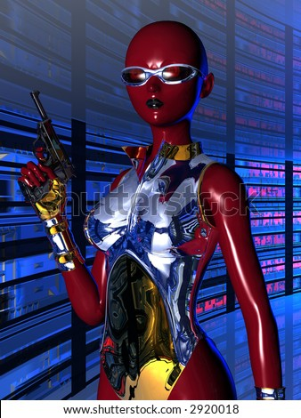Sci-fi female android. 3D illustration of a dark red female robot with polished chrome and brass clothing holding a pistol.