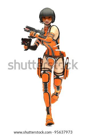 Sci-Fi Girl loaded - stock photo