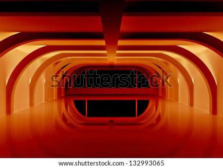 sci-fi interior - 3d illustration - stock photo