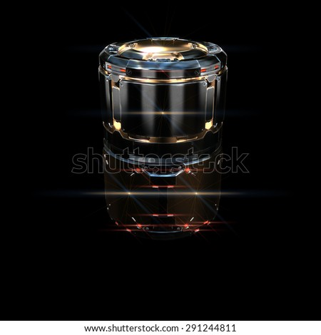 sci fi military barrel gold neon light on black background
