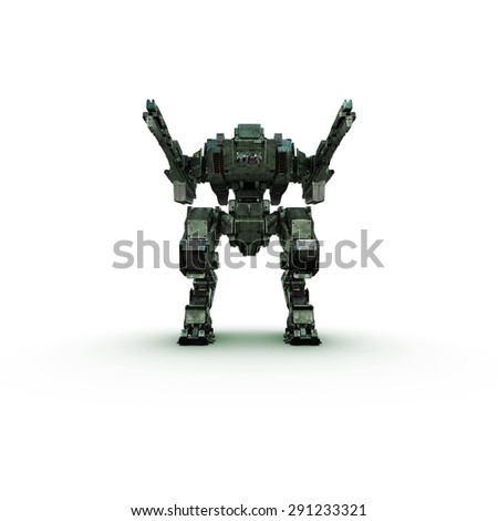 sci fi military camouflage robot on white background