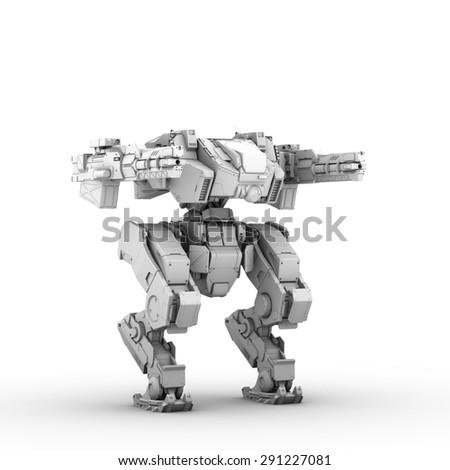 sci fi military robot on white background - stock photo