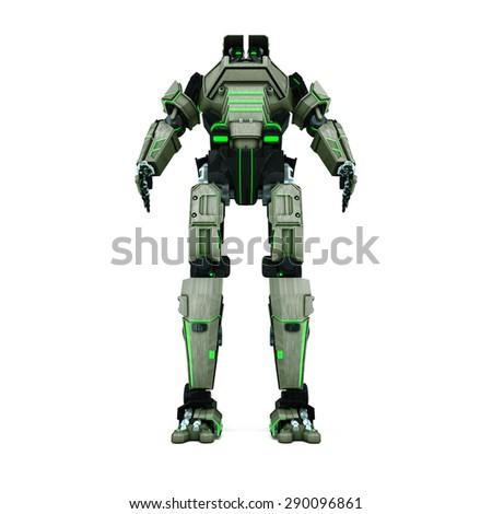 sci fi robot  camouflage on white background - stock photo
