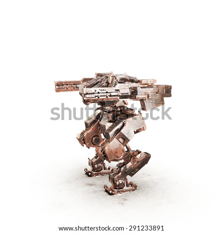 sci fi robot dirt gold on white background
