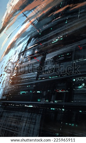 sci-fi scene of industrial city,digital painting - stock photo