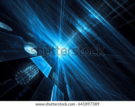 Sci-fi, technology or data science background - abstract computer-generated image. Fractal art: rays of light and perspective way. For web design, covers, posters.