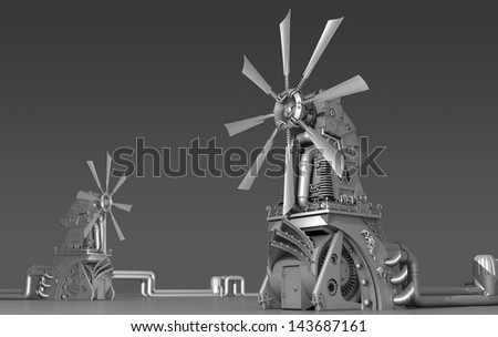 sci-fi windmill made ot of glossy metal; concept art - stock photo