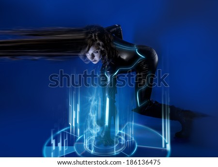 Sci-fi woman in blue neon lights, travel time - stock photo