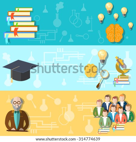 Science and education college students university examination power mind professor study lessons learning vector banners - stock photo