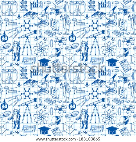 Science And Education Seamless Pattern Background - stock photo