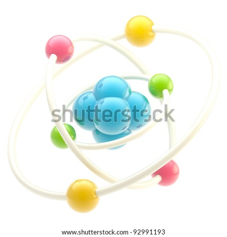 Science and nano technology glossy emblem as atomic structure isolated on white