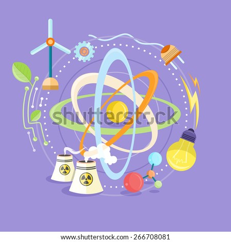 Science and physics energy icons set. Chemistry, physics, biology. Concept in flat design cartoon style on stylish background. Raster version - stock photo