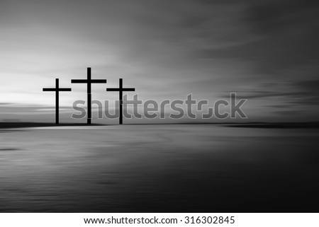 Science and religion. Christian religion. Black and white Illustration with cross of christ at sunset blur nature background - stock photo