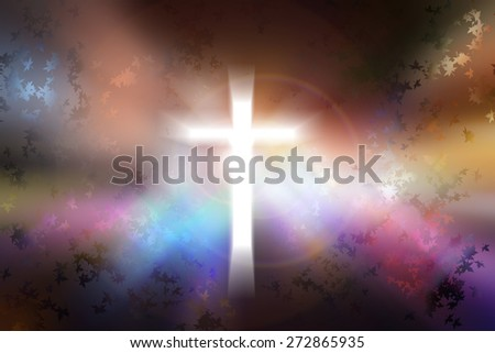 Science and religion. Christian religion. Illustration with cross of christ and nature - stock photo