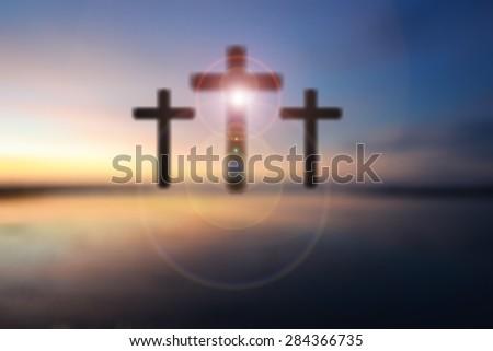 Science and religion. Christian religion. Illustration with cross of christ at sunrise blur nature background