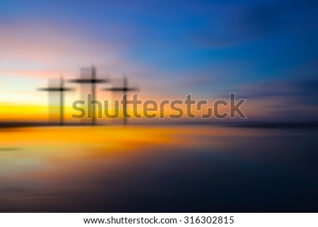 Science and religion. Christian religion.  Illustration with cross of christ at sunset nature background motion blur - stock photo