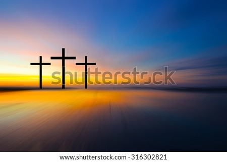 Science and religion. Christian religion.  Illustration with cross of christ at sunset nature background motion blur