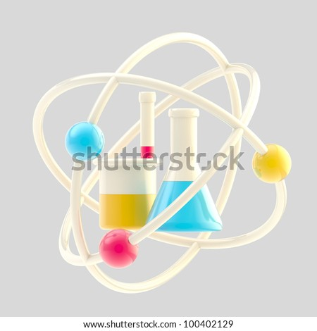 Science and research glossy icon made of sample tubes inside an atomic structure isolated - stock photo
