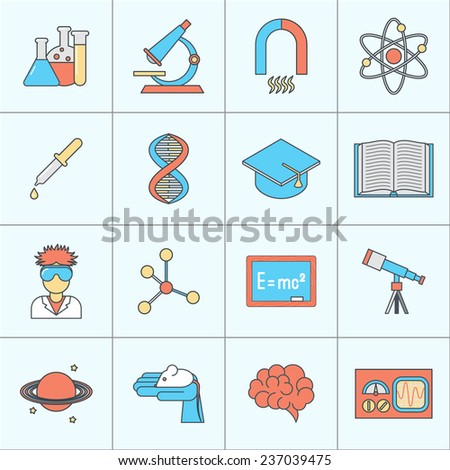 Science and research icon flat line set with beaker microscope magnet isolated  illustration - stock photo