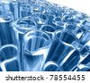 science background with test tubes in blue toned - stock vector