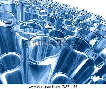 science background with test tubes in blue toned - stock photo