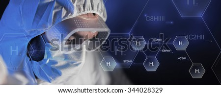 science, chemistry, biology, medicine and people concept - close up of scientist face in goggles and protective mask at chemical laboratory over hydrogen chemical formula - stock photo