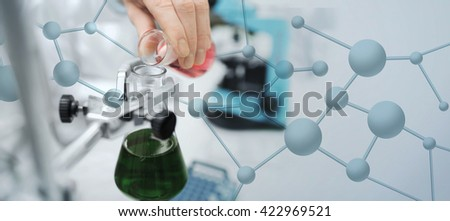 science, chemistry, biology, medicine and people concept - close up of scientist hand filling test tubes and making research in clinical laboratory over blue molecular structure background - stock photo