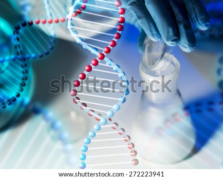science, chemistry, biology, medicine and people concept - close up of scientist hand pouring chemical powder into flask making test or research in clinical laboratory over dna molecule structure - stock photo
