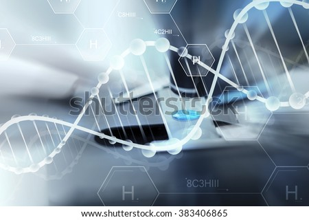 science, chemistry, biology, medicine and people concept - close up of scientist hand with test sample making research in clinical laboratory over hydrogen chemical formula and dna molecule structure - stock photo