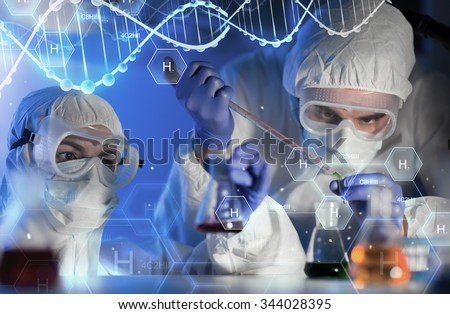 science, chemistry, biology, medicine and people concept - close up of scientists with pipette and flasks making test in clinical laboratory over hydrogen chemical formula and dna molecule structure - stock photo