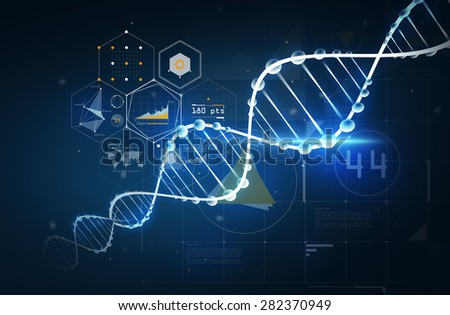 science, chemistry, biology, technology and research concept - dna molecule chemical structure with projections over dark background - stock photo