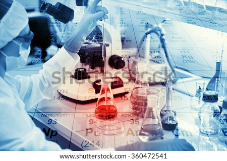 Science, chemistry, technology, biology and people concept - young female scientist mixing reagents from glass flasks and making test or research in clinical laboratory with chemical table background  - stock photo