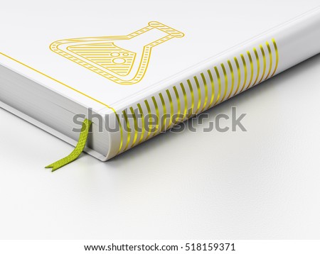 Science concept: closed book with Gold Flask icon on floor, white background, 3D rendering