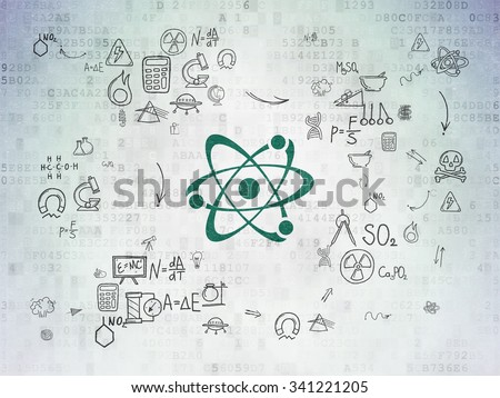 Science concept: Painted green Molecule icon on Digital Paper background with Scheme Of Hand Drawn Science Icons