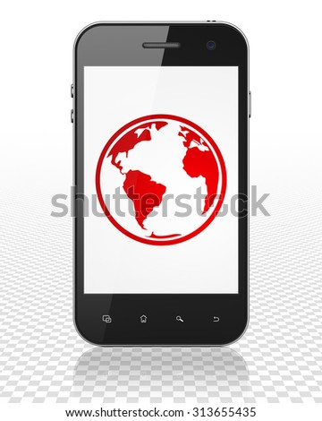 Science concept: Smartphone with red Globe icon on display
