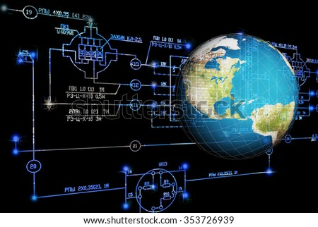 Science engineering technology.Engineering scheme and globe Earth - stock photo