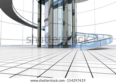 Science fiction architecture visualisation. 3D rendered illustration. - stock photo