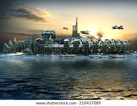 Science fiction city with metallic ring structures on water and hoovering aircrafts in sunset for futuristic or fantasy backgrounds - stock photo