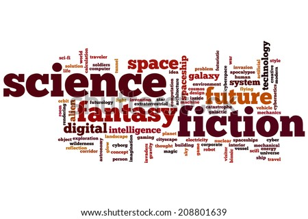 Science fiction concept word cloud background - stock photo